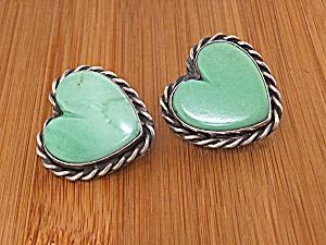 David Troutman Sterling Silver Varicite Heart Clip Earr (Image1)