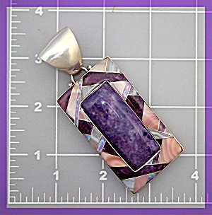 Pendant Opal Russian Charoite Mother Pearl Sterling Sil (Image1)