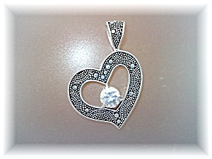 Pendant Natural Zircon Sterling Silver Heart by Peggy V (Image1)