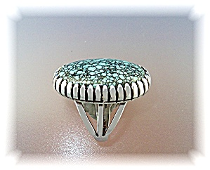 Ring 8 Turquoise Sterling Silver Native American A J (Image1)