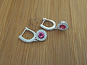 Earrings Sterling Silver Ruby Crystal Cz Post Clip