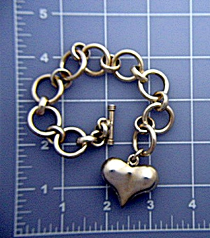 Sterling Silver Heart link Toggle Bracelet (Image1)