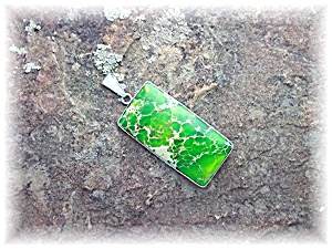 Pendant Sterling Silver Dyed Green Jasper Charles Alber (Image1)
