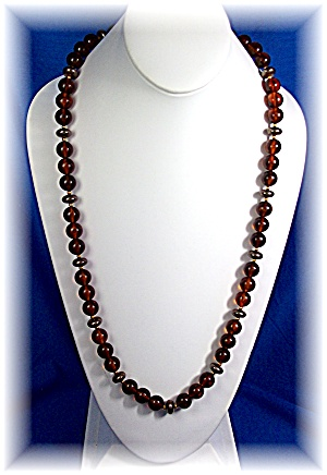 Necklace Amber Lucite Beads 28 Inch (Image1)