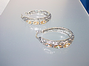 Earrings Sterling Silver Citrine Hoops Pierced  Indones (Image1)