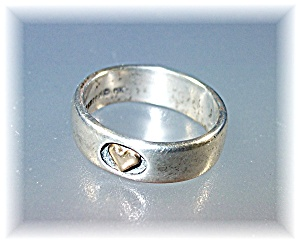 Ring 14k Sterling Silver Heart Band Ring