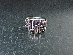 Studio Gl Sterling Silver Sugilite And Opal Inlays Ring