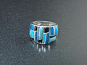 Studio Gl Sterling Silver Turquoise Onyx Opal Ring