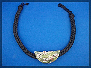 Necklace  Black Cord Dragonfly Bone Hand Made (Image1)
