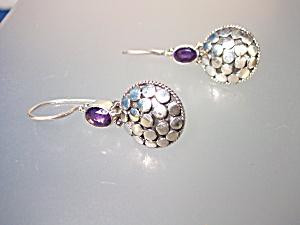 Earrings Amethyst Wire Loop Pierced Dot Earrings (Image1)
