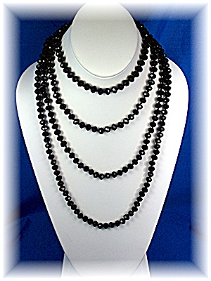 Necklace Black Faceted Crystal 80 Inch Hand Knotted