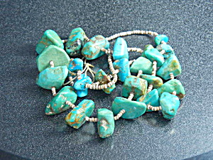 Native American Pilot Mountain Turquoise Heishi Necklac