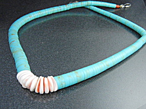 Native American Turquoise Shell Necklace S Silver Clasp