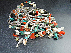 Native American Carved Fetish Heishi Coral Turquoise