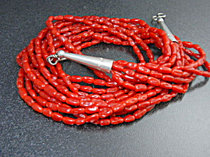 Native American Bamboo Coral Sterling Silver Necklace