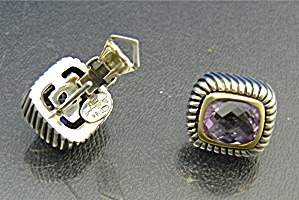 Italian Sterling Silver 18k Gold Amethyst French Clip