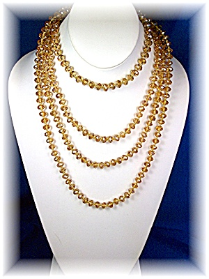 Necklace Citrine Color Crystals Hand Knotted 80 Inch