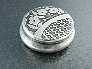Pill Box Silver Flowers