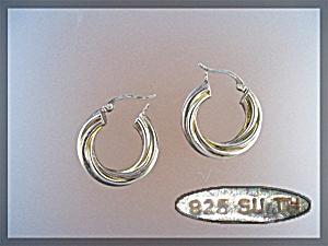 Sterling Silver Twist hoop Pierced Earrings SU TM (Image1)