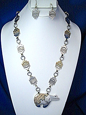 Necklacesterling Silver And Gold Signed Mm Bear