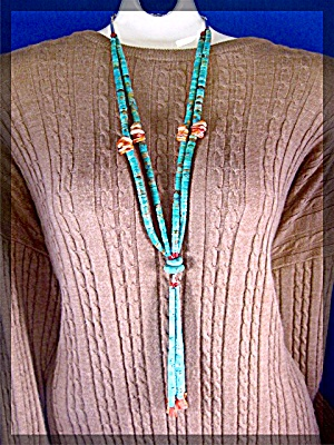 Santo Domingo Turquoise Spiny Oyster Antique Necklace (Image1)