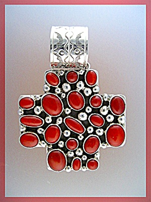 Native American Coral Sterling Silver Pendant Beatrice