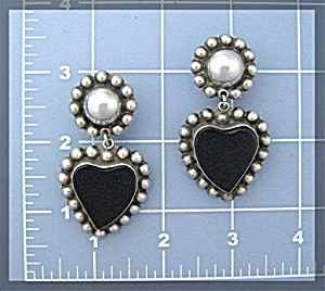 Taxco Mexico Sterling Silver Onyx Heart Clip Earrings  (Image1)