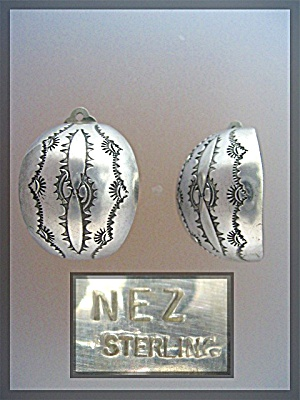 Sterling Silver American Indian Clip Hoop Earrings Nez