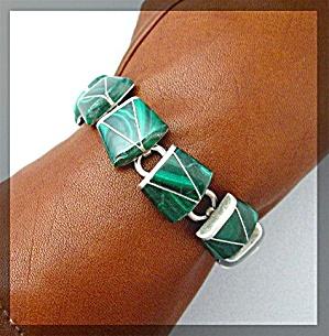 Sterling Silver Malachite Bracelet TJ-80 Mexico (Image1)