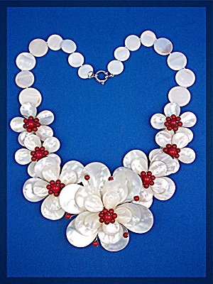 Necklace Mother Of Pearl And Coral Flowers Artist Made