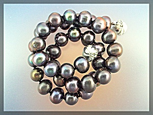 Necklace Rainbow Color Grey Freshwater Pearls 11mm