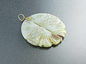 14k Gold Flower Green Jade Koi Fish Pendant
