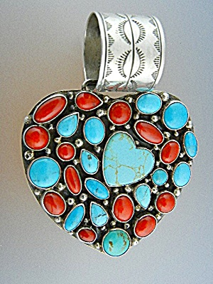 Rocki Gorman Sterling Silver Turquoise Coral Heart