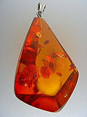 Baltic Amber Bugs Leaves Silver Large Pendant (Image1)