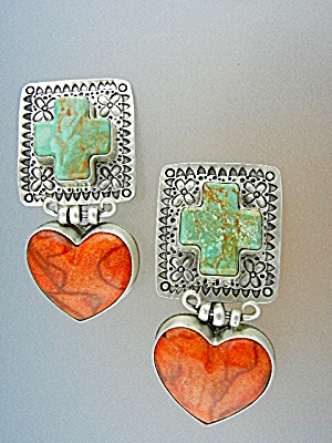 David Troutman Sterling Silver Coral Turquoise Earrings
