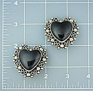 Taxco Mexico Sterling Silver Onyx Heart Clip Earrings