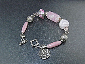 Sterling Silver Artist Pink Art Glass Crystal Bracelet