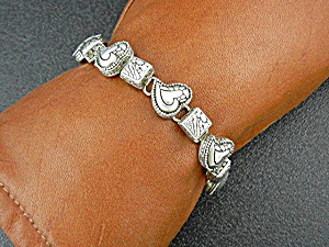 Sterling Silver Hearts Bracelet Indonesia Sarda