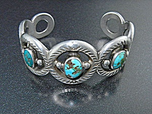 Native American Silver Turquoise Cuff Bracelet (Image1)