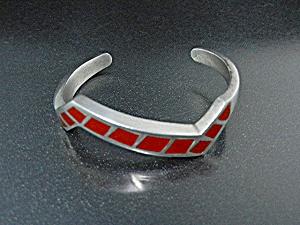 Native American Sterling Silver Coral Bracelet (Image1)
