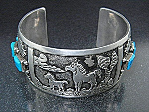 Native American Sterling Silver Turquoise Storyteller
