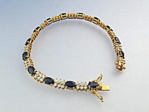 Bracelet Sterling Silver Gold Vermeil Sapphire CZ (Image1)