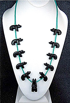 Native American Carved Jet Bears Turquoise Sterling Sil (Image1)
