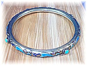 Bracelet Bangle Chinese Silver Blue Enamel Turquoise (Image1)