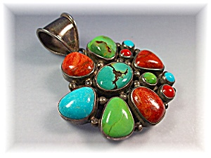 Native American Coral Turquoise Sterling Silver Pendant (Image1)