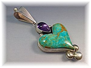 Pendant Sterling Silver Amethyst Turquoise Heart Pendan (Image1)