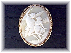 Brooch Pin 14 K Gold Shell Signed CHU Cameo (Image1)