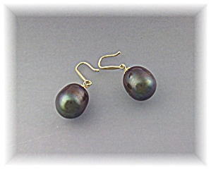Earrings 14k Gold 11mmtahitian Pearl Piercedshepherd H