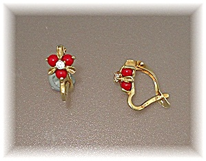 Earrings 14k Gold Coral Diamond French Clip Earrings