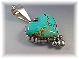 David Troutman Sterling Silver Turquoise Heart  (Image1)